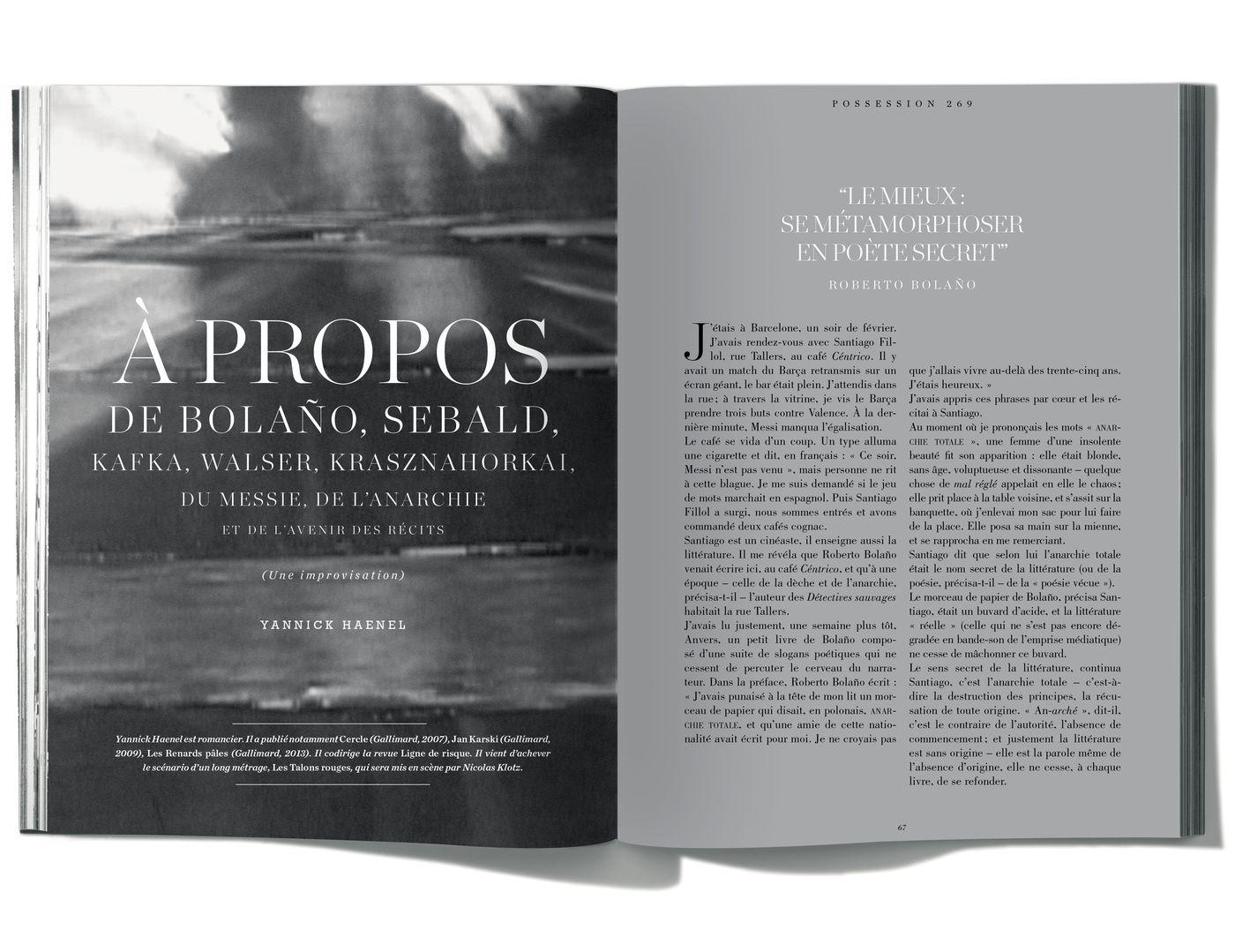 Texte de Yannick Haenel, À Propos de Bolaño, Sebald ...