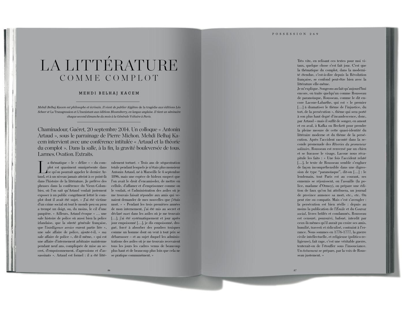 Texte de Mehdi Belhaj Kacem, La Littérature comme complot