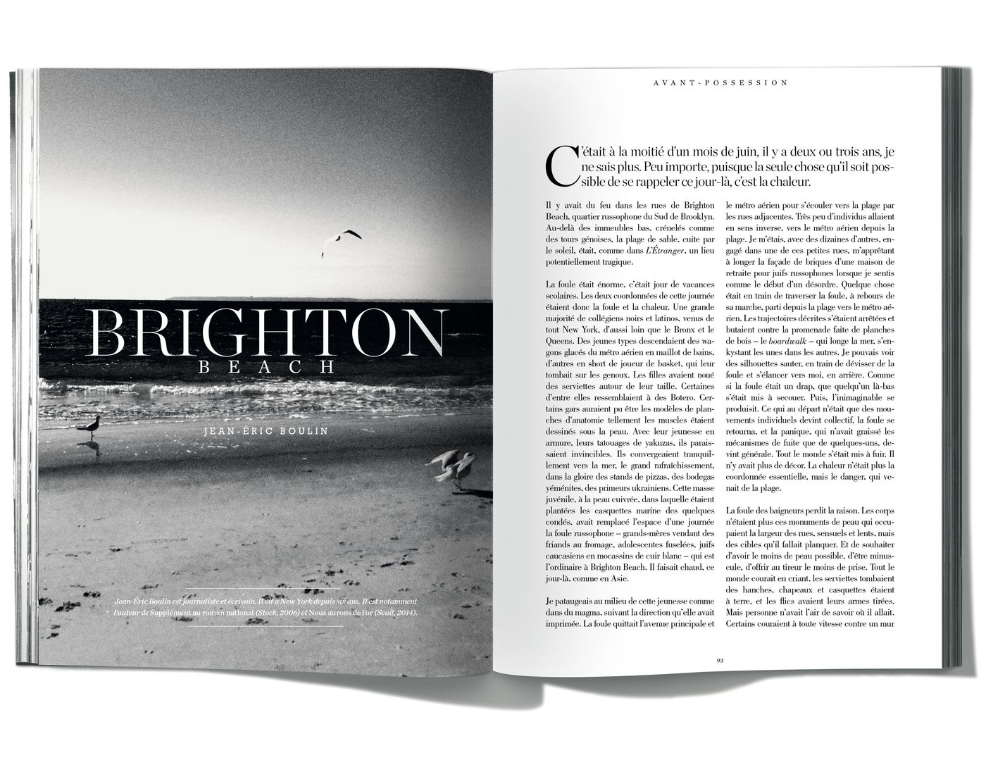 Texte de Jean-Éric Boulin, Brighton Beach