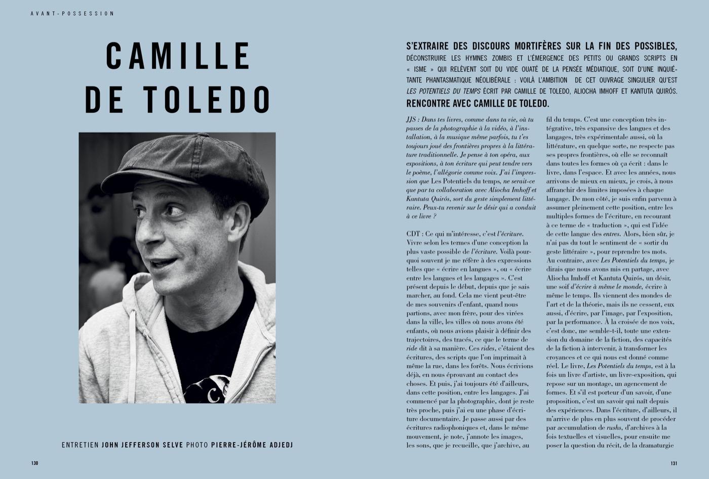 Entretien avec Camille de Toledo par John Jefferson Selve