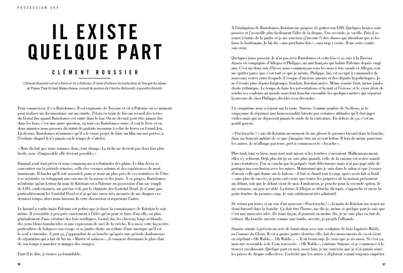 Texte de Clément Roussier, Il existe quelque part