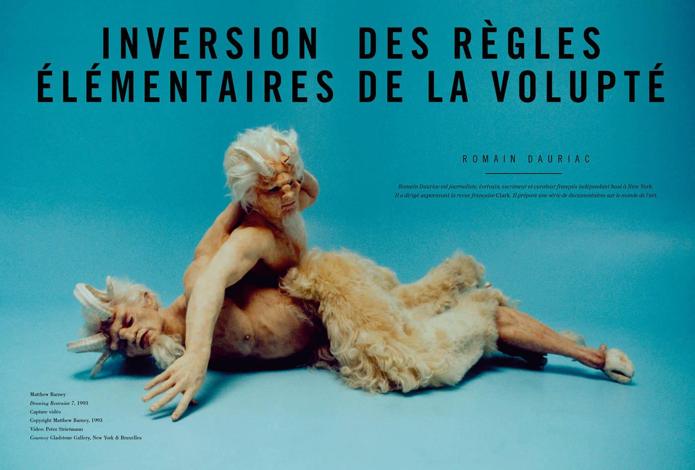 Texte de Romain Dauriac, Inversion élémentaires des règles de la volupté